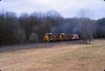OHCR 3247 leads on Ohio Central coal train north on the NS WV secondary