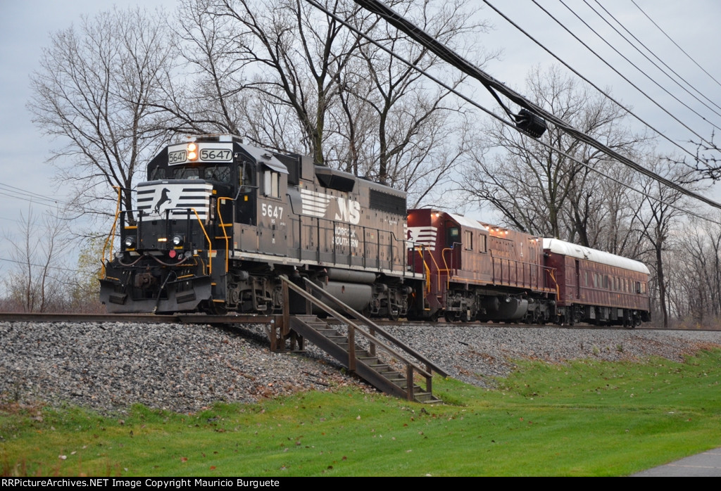 NS Track Test unit with Gp38-2 loco and Passenger car