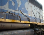 Destroyed Conductor Side Handrail on CSX 8405