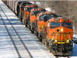 110215029 Eastbound BNSF Manifest Waits In The Siding For A Meet
