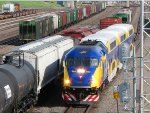 110608025 Westbound Northstar MNRX Commuter passes BNSF Northtown CTC 35th