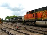 110611051 Westbound BNSF Freight Meets Eastbound Track Measurement Train