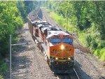 110712007 Eastbound BNSF coal train heads out of siding onto mainline