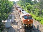 110712008 Eastbound BNSF coal train heads out of siding onto mainline