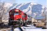 UCRY 1418 & 1401 with the snow covered Wasatch Mountains