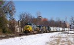 CSX 7340 leads freight up Wilson Alley in rare snow