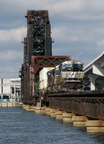 NS 2618 leads a NS stacker over the Jacksonville Drawbridge