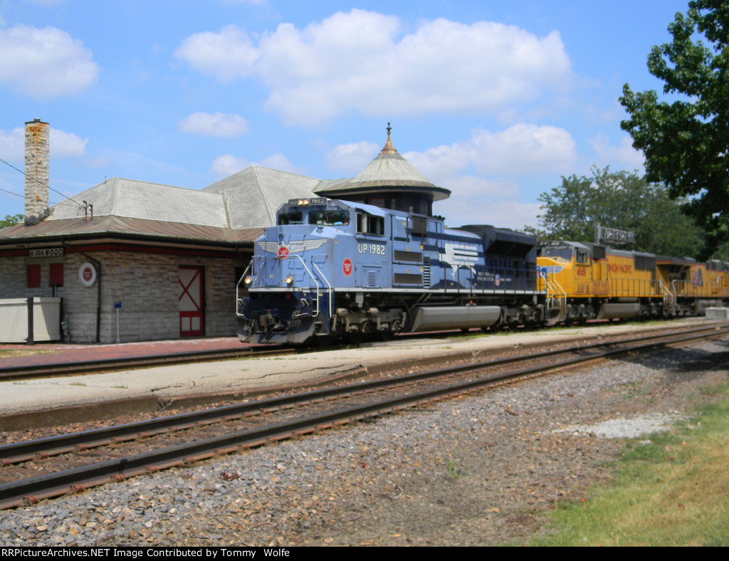 UP 1982 The MoPac Heritage Units Leads UP Train MASKC Past the Old MoPac Passanger Station in Kirkwood