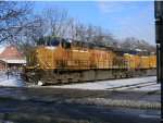 UP 6507 Leads a Grain Train West in the Snow