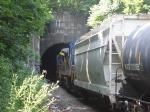Northbound freight enters Bergen Tunnel