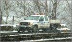 hi-railer in a snowstorm