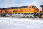 Very Clean after 2 months on the Tracks BNSF 6648 a ES44C4 rolls west in the snow towards Needles, Ca.