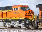 Zoom shot of the LED Road Numbers Lights and the BNSF Swoosh Logo of BNSF 6648 a Brand New 2 month old ES44C4.