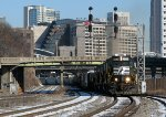 NS P76 roaring through Spring St. with 4 GP38-2's.
