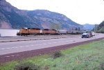 Westbound behind an SD40-2 and SD50