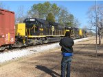 Josh enjoying the sights & sounds of a trio of SD40-2s