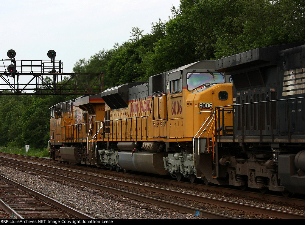 UP 8006 with silver trucks