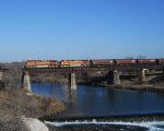 BNSF 5345 BNSF 4612  8Feb2011  SB Crossing the Comal River