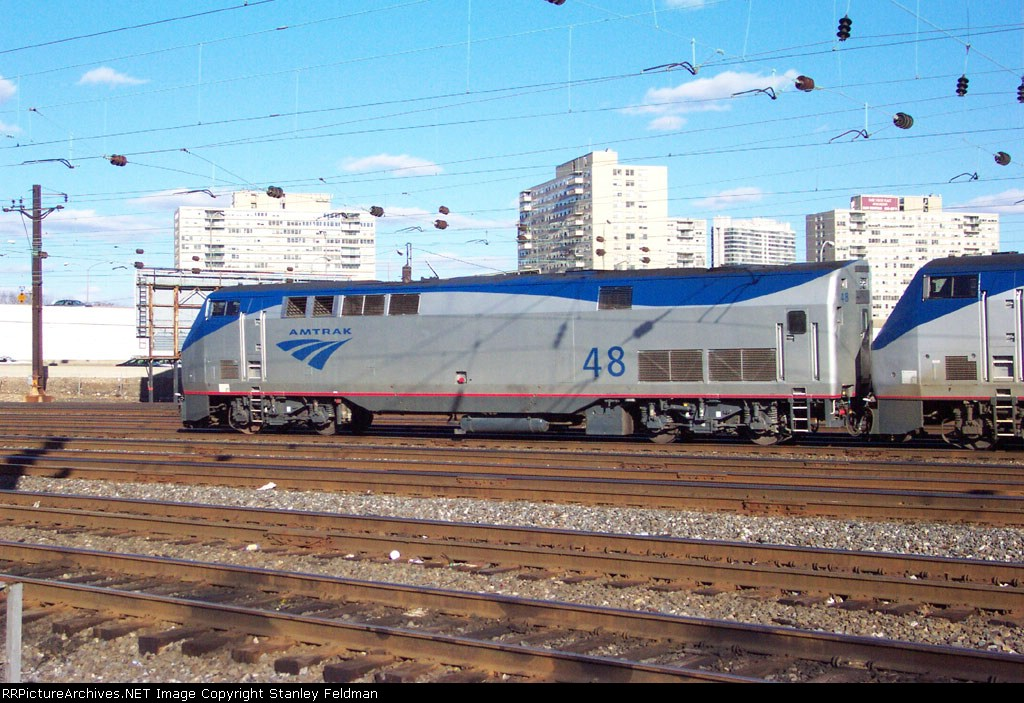 AMTK 48 Switching express cars at 30th Street Station.  2/2/2002