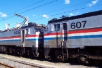 Amtrak E-60's 607 and 609 Await the call to duty at the Race Street Engine terminal, Philadelphia, Pennsylvania.