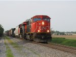 CN #5609 Leading A Southbound Mixed Freight
