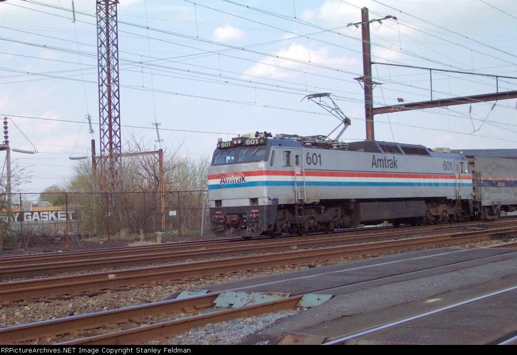 AMTK E-60  601 with a Silver Service Train   4/15/2002