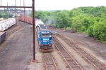 PRR (NS)  2943 GP38- The Spirit of Conrail, pulling its train off  the 0 track