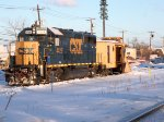 Borrowed GP40-2 # 4429 has the honors of shoving snow plaow 91 up the mainline to break up ice and snow