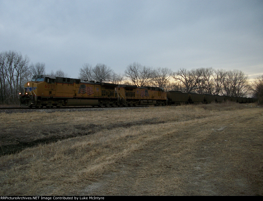 UP 6075 eastbound UP loaded coal train