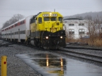 Cortland-Marathon excursion train arrives in a drenching downpour