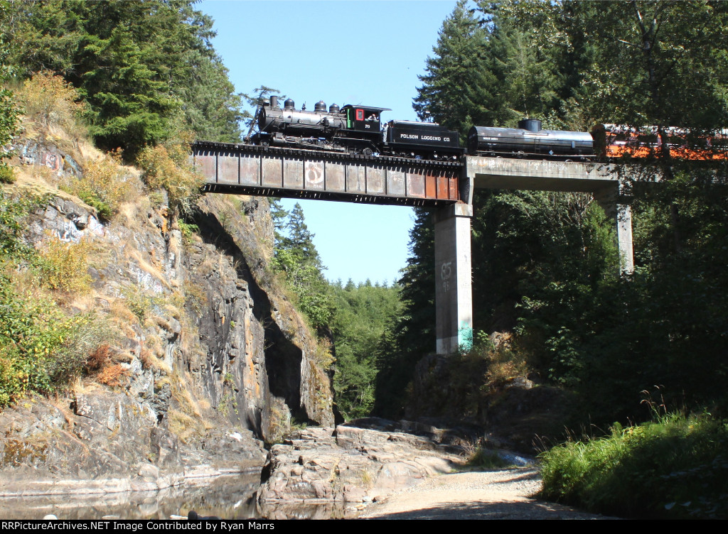 Polson #70 crossing the Marshall River