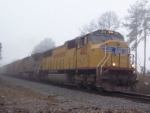 UP 4012 (Q142) coming out of the fog