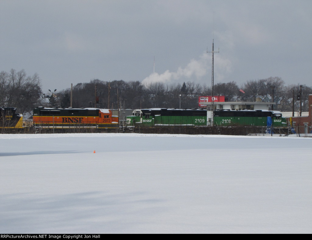 GDLK's new power, former BNSF GP's, wait for their turn to be put in service