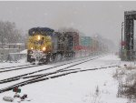 Q196-13 rolls east through the heavy lake effect snow