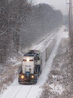 24 heads east clearing the snow off the railheads of the GRE