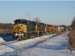 CSX 5333 & 7396 lead 4 BNSF units and 101 cars west as Q335-04