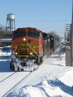 Just onto the single track, Q335-11 heads west for Chicago