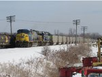 N911-08 slowly pulls west down 1 Track with loads for West Olive