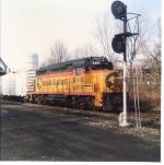 B & O GP-30 at East Penn Jct.  Allentown, Pa., 3/85 (date approximate).