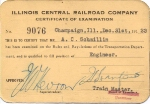 IC Illinois Central Railroad Certificate of Examination - Engineer 1922