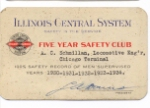 IC Illinois Central System Five-year Safety Award 1934
