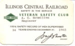 IC Illinois Central System 34-year Safety Award 1963