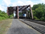 AMTK 55 passes the Erie Canal Bridge & CSX MOW work crew