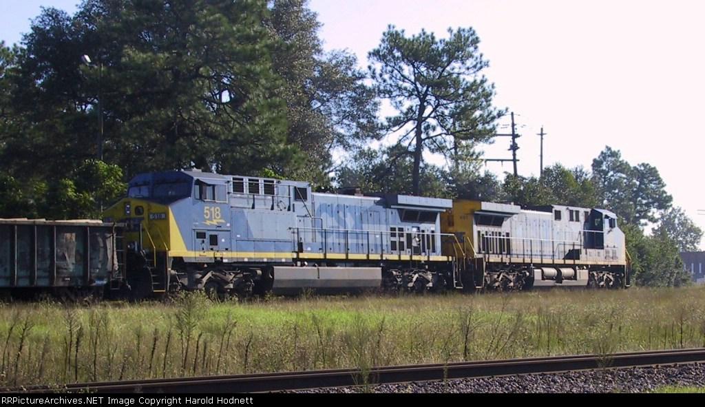 CSX 518 & 481 lead a train to Hamlet Yard
