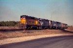 CSX 2036 leads a string of locos thru the yard