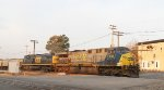 CSX 636 & 43 lead train W079-07 towards the yard early in the morning
