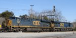 CSX 878 & 927 back train U341-04 out of the yard