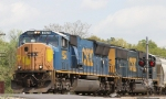 CSX 4823 leads train Q438-08 out of the yard