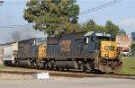 CSX 8706 & 8732 lead train Q698-23 towards the yard