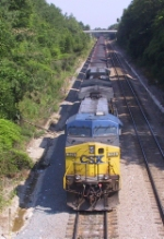 CSX 328 is on the point of a loaded coal train